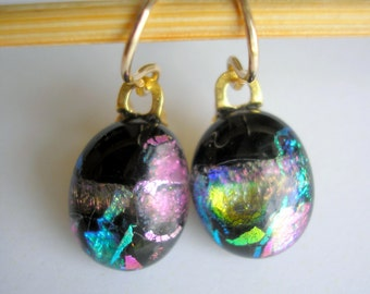 Earrings Petite Mardi Gras on Black Dichroic 14K Gold Fused Glass Oval Dangle Drop Kiln Fired Artist Made One of a Kind Jewelry Multicolor