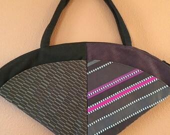 Lu Lu 1606E  Stunning Fan Shaped Purse, Upholstery Fabric Bag, Bag, Purse, Shoulder Bag, Handbag, Handbags, Up Cycled Fabrics, Purses, Bags