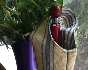 Wine Tote 1602E  Yellow and Blue Striped Wine Tote, Wine Bottle, Wine Cozy, Bottle Bag, Gift, Wine, Reversible, Water Bag, Bottle, Winery