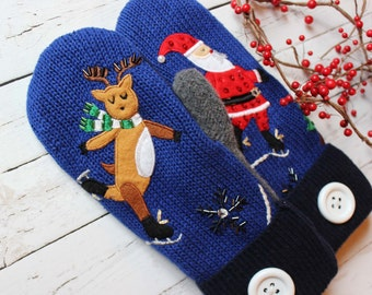 sweater mittens, recycled sweaters, miracle mittens, skating reindeer, santa mittens, women's mittens, christmas sweater, fleece lined glove