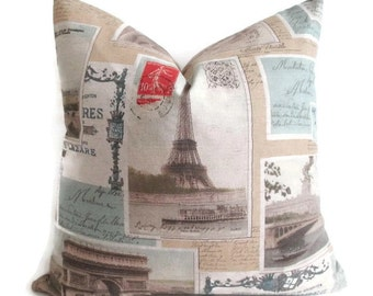 Pillow Cover Post Cards From Paris Eiffel Tower Both Sides Sepia Zipper