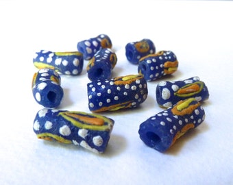 African Powder Glass Beads, Blue with Spots, Dots and Eye Pattern, Krobo Sand Cast Beads, Handmade in Ghana - Qty 5 pcs
