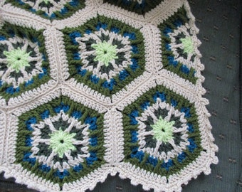 Handmade Crochet Kaleidoscope Afghan Desert Oasis with Light Tan Edging 48 x 68