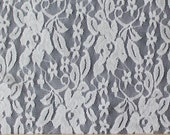 White Large Floral Vine Stretch Lace, 1 Yard