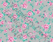 Grey Aqua and Pink Rose Vine Floral 4 Way Stretch Jersey Knit Fabric, Club Fabrics
