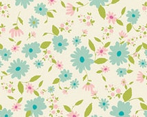 Aqua Green Pink and Cream Floral Jersey Knit Fabric, Joie de Vivre By Bari J Art Gallery Fabrics, Petit in Potpourri, 1 Yard JERSEY KNIT