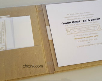 SAMPLE Elegant Silk Covered Book Folio for Wedding Invitations
