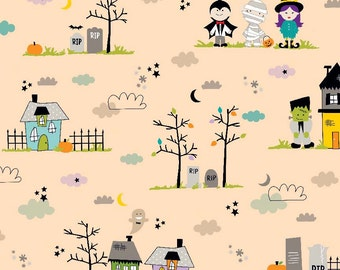 Orange Halloween Graveyard Fabric by the Yard Halloween Magic Bella Blvd Riley Blake Designs