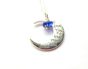 Lake Erie Beach Glass - Beach Glass Jewelry - Sea Glass Charm - Love You To The Moon