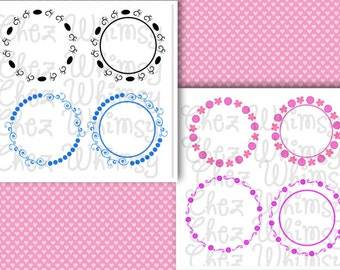 Circle Monogram Frames, Circles and Swirls Monogram Frames SVG Designs, Swirly and Dots for Monogram Frames SVG,  Files for Cutting