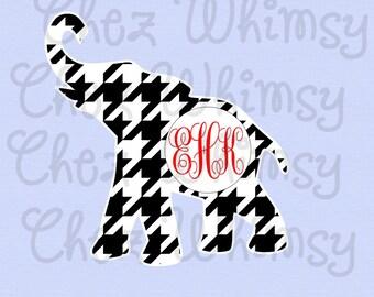 Alabama SVG, Houndstooth Set, Elephant Monogram, Roll Tide SVG, Circular Houndstooth Svg, Alabama Houndstooth Set