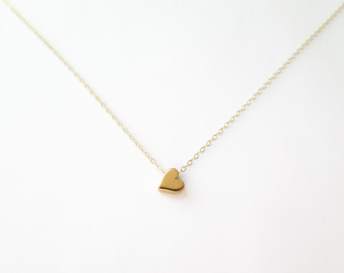 Dainty Heart Bead Necklace - 24k Gold Plated Bronze with 14k Gold Fill Chain Jewelry - Layering Necklace - by Betsy Farmer Designs