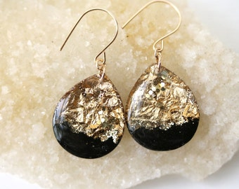 black and gold leaf and glitter tear drop earrings on 14 karat gold fill ear wires - large size