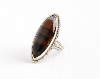 Sale - Vintage Sterling Silver Banded Brown, Red, White Agate Ring - Size 7 1/4 Retro Southwestern Statement Marquise Navette Gem Jewelry
