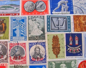 Grecian Love 50 Vintage Postage Stamps Greece Athens Lesbos Ancient Ruins Hellas Mythology Mediterranean Carthage Europe Worldwide Philately