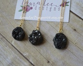 READY TO SHIP, Black Druzy Necklace, Statement Necklace, Fall, Gold Trendy Necklace, Chain Necklace, Pendant Necklace, Winter, Christmas