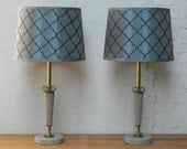 Pair Taupe & Gold Metal Table Lamps with Blue Brown Geometric Shades