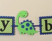 Small Blue and green Dinosaur Happy Birthday Banner ready to ship dinosaur T Rex tyranosaurus