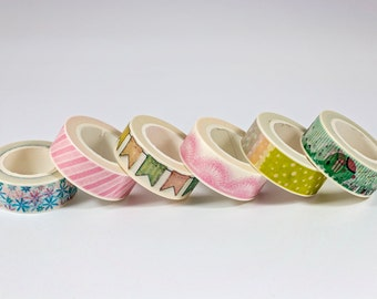 Washi Tape - Pink and Blue Flowers, Pink Stripe, Colorful Banners, Pink Lace, Various Speckles, Teal Elephant - Set of 5