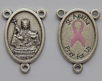 5 Rosary Center Piece Findings - 25mm Long, St. Agatha, Pink Ribbon Enamel, Silver Color Oxidized Metal, Rosary Center, Religious, RC515