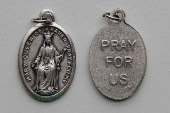 5 Patron Saint Medal Findings - Mary Queen of Heaven, Die Cast Silverplate, Silver Color, Oxidized Metal, Made in Italy, Charm, RM603