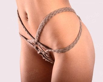 Crotchless  braided cotton panties