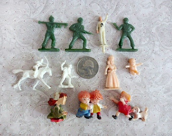 Miniature Toy Figurine Characters, Plastic and Wood