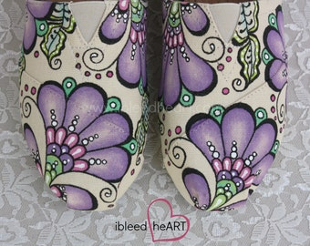 Henna Custom Painted TOMS Shoes - Mehndi Flower - Wedding Shoes - Bridal Shoes - Bridesmaid TOMS, Bohemian Design - Personalized Shoes