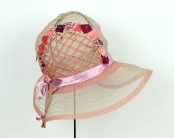 1920s cloche hat • vintage pink horsehair floral hat