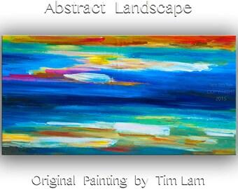 "Art, Oil painting, Blue beach — home decor,  abstract painting, Sea art —size: 48"" x 24"" (122 cm x 61 cm), modern art, Wall art, by Tim Lam"