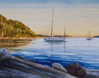 Cascade Bay, Sunset, Watercolor Giclée Print, Rosario, Orcas Island, San Juan Islands, Sailboats
