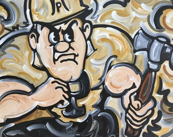 30x40 Officially Licensed Pudue University Painting Justin Patten Art College Football Basketball Purdue Pete Train