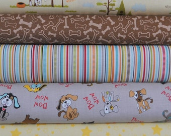 Puppy Park Yellow/Gray 5 Fat Quarters Bundle by Bella Blvd. for Riley Blake, 1 1/4 yards total