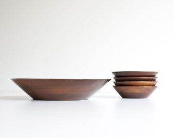 Vintage Walnut Salad Bowl Set - Mid Century Modern