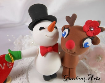 NEW--Custom NEW-Wedding Cake Topper--snowman & Rudolph Love with sweet ring and circle clear base