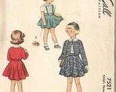 SALE 1940s Girls' Sewing Pattern Circle Skirt Suspenders Peter Pan Collar Blouse Bolero Jacket  Sz 6 McCall 7521 Breast 24 Vintage Sewing Pa