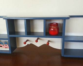 Americana Inspired shelf with 3 pegs