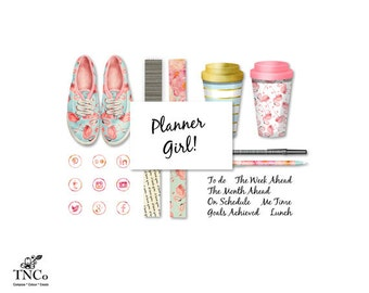 Flamingo clipart - Digital clip art - Planner accessories - Floral shoes - Digital word art - Commercial use clip art - social media - MK