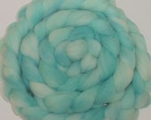"Heritage Breed Wool Roving Babydoll Southdown for Spinning & Needle Felting 4 Oz Combed Top  Aqua Pastel Turquoise Fiber  "" Robin Egg  """
