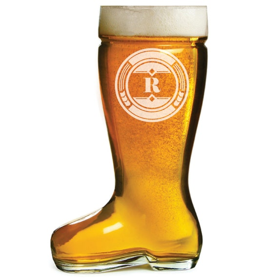 Glass Beer Boot, different Engraving styles