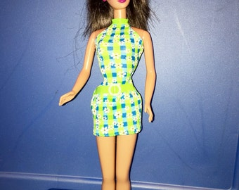 vintage 1991 Brunette Barbie doll in mini dress