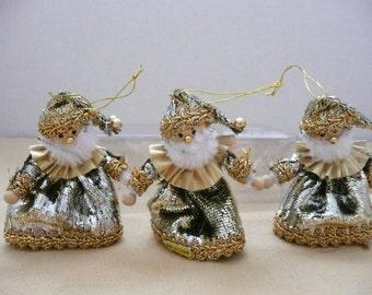 Three Miniature Lame Santa Claus Ornaments - Christmas Package Tie Ons