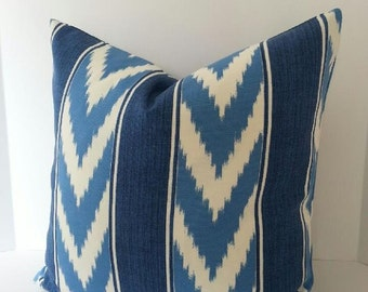 BOTH SIDES - Indoor - Outdoor Blue and White Ikat Stripe Pillow Cover