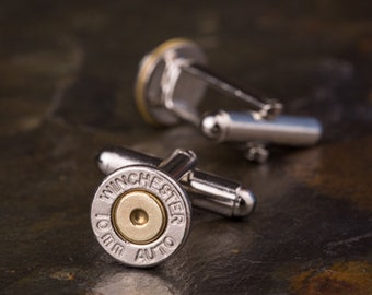 Bullet Cufflinks / Winchester 10mm Nickel Bullet Cufflinks WIN-10MM-NB-CL / Wedding Cufflinks / Custom Cufflinks / Quantity Discounts!