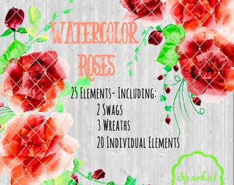 Floral Clipart for Weddings, Cards, Scrapbooking, Red and Orange Flowers and Fauna, PNG Format with transparent background, Wedding Florals