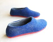 ON SALE 15% OFF Nautical Felt Slippers - Wool Felted Shoes - Christmas in July - Minimalist Shoes - Indoor Shoes - Rubber Soles - Gift for H