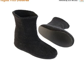ON SALE 15% OFF Black Valenki Boots - Felted Wool Boots - Womens Shoes - Minimalist Booties -  Rubber Soles - Christmas in July - Gift for H