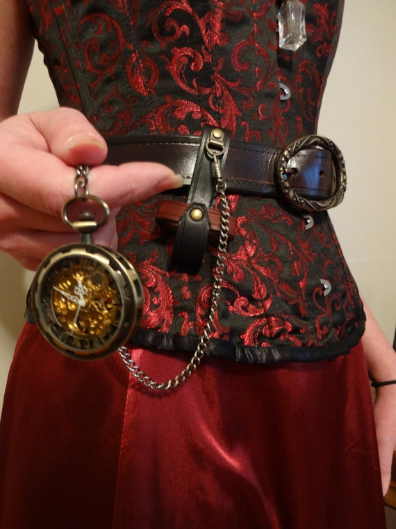 Antique Brass Skeleton Pocket Watch with Leather Holster and Chain by FiendishWear steampunk buy now online
