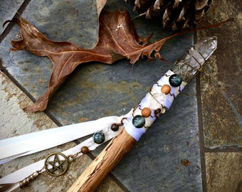 SALE- Cleansing Storms- Wand- Quartz and Hawks Eye