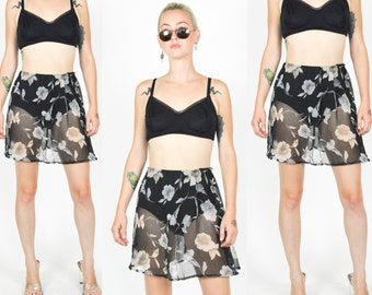 90'S BLACK SHEER FLORAL Mini Skirt. A Line. High Waist. 90's Grunge Hippie Mod Minimalist. Black floral Mini Skirt Size S/M